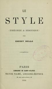 Cover of: Le Style | Ernest Hello