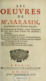Cover of: Les Oeuvres de Mr Sarasin | Jean-François Sarasin