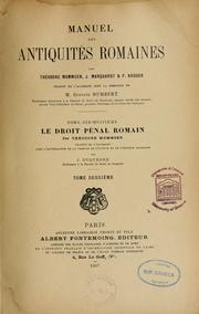 Cover of: La Droit pénal romain by Theodor Mommsen