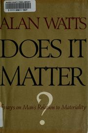 Cover of: Does it matter? | Alan Watts