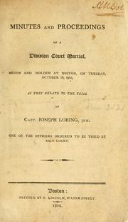 Cover of: Minutes and proceedings of a division court martial | Joseph Loring
