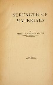 Cover of: Strength of materials by Alfred P. Poorman