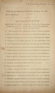 Cover of: Substitute for the bill (H.R. 203) to protect the Confederate States against frauds, and to provide remedies against officers and employees of the government committing them by Confederate States of America