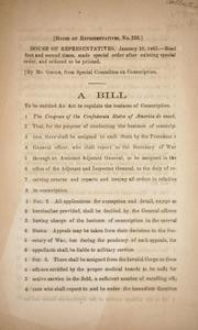 Cover of: A bill to be entitled An act to regulate the business of conscription by Confederate States of America. Congress. House of Representatives