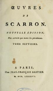 Cover of: Oeuvres de Scarron by Scarron Monsieur