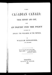 Cover of: The Canadian canals | William Kingsford