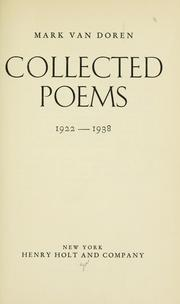 Cover of: Collected poems, 1922-1938