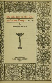 Cover of: The shadow on the dial | Ambrose Bierce