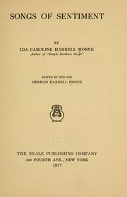 Cover of: Songs of sentiment | Ida Caroline Harrell Horne