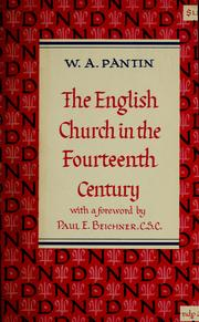 Cover of: The English church in the fourteenth century. | W. A. Pantin