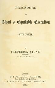 Cover of: Procedure on elegit & equitable execution | Frederick Stone