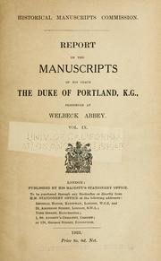 Cover of: The manuscripts of His Grace the Duke of Portland | Great Britain. Royal Commission on Historical Manuscripts.