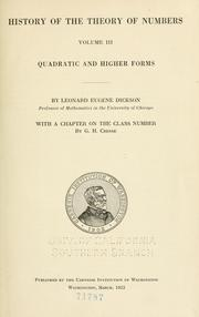 History of the theory of numbers by Leonard E. Dickson