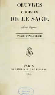 Cover of: Oeuvres choisies de La Sage by Alain René Le Sage