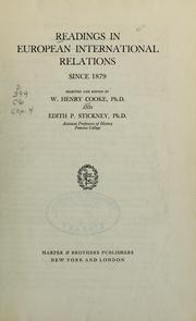 Cover of: Readings in European international relations since 1879 | William Henry Cooke
