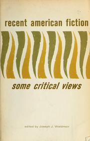 Cover of: Recent American fiction, some critical views