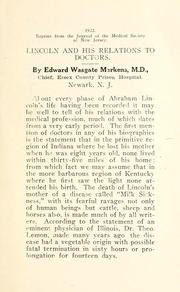 Cover of: Lincoln and his relations to doctors | Edward Wasgate Markens