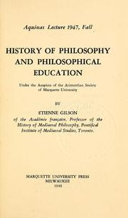 History of philosophy and philosophical education by Étienne Gilson