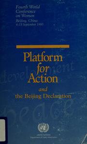 Cover of: The Beijing Declaration and the Platform for Action |