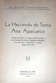 Cover of: La Hacienda de Santa Ana Apacueco by Ricardo Lancaster-Jones