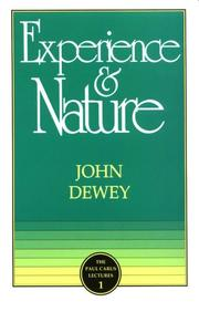 Cover of: Experience and Nature (Paul Carus Lectures | John Dewey