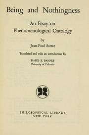 A Phenomenological Essay on Ontology - Jean-Paul Satre