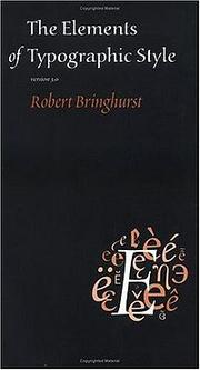 Cover of: The Elements of Typographic Style | Robert Bringhurst
