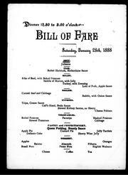 Dinner, bill of fare