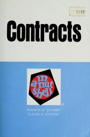 Cover of: Contracts in a nutshell | Gordon D. Schaber