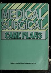 Cover of: Medical surgical care plans | Nancy Meyer Holloway
