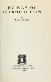 Cover of: By way of introduction by A. A. Milne