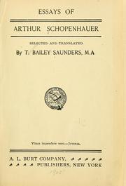 Essays of Arthur Schopenhauer.