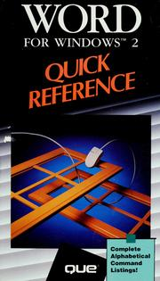 Cover of: Word for Windows 2 quick reference