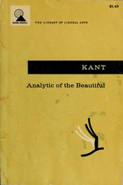 Cover of: Analytic of the beautiful | Immanuel Kant