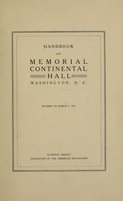 Cover of: Handbook of Memorial Continental Hall, Washington, D. C. | Daughters of the American Revolution.
