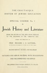 Cover of: Special course ... in Jewish history and literature ... | Richard J. H. Gottheil