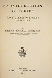 Cover of: An introduction to poetry | Raymond Macdonald Alden