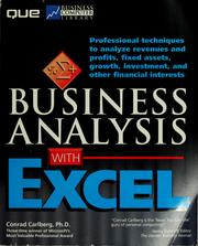 Cover of: Business analysis with Excel | Conrad George Carlberg