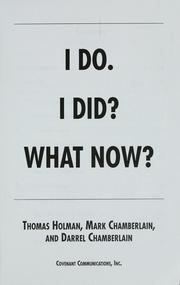 Cover of: I do. I did? What now? | Thomas Holman