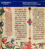 Cover of: Highly important Hebrew books and manuscripts | Sotheby & Co. (London, England)