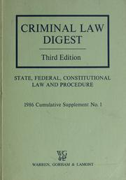Cover of: Criminal law digest | James A. Douglas