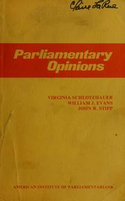 Cover of: Parliamentary opinions