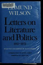 Cover of: Letters on literature and politics, 1912-1972