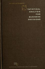 Cover of: Statistical analysis for business decisions | William Stanley Peters