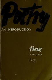 Cover of: Poetry, an introduction | William Guerrant Lane