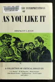 Cover of: Twentieth century interpretations of As you like it | Halio, Jay L.