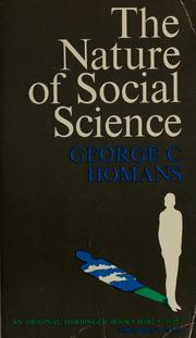 Cover of: The nature of social science