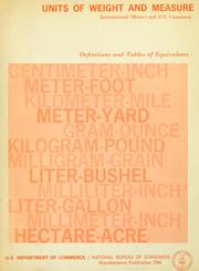 Cover of: Units of weight and measure | L. J. Chisholm