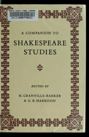 Cover of: A companion to Shakespeare studies