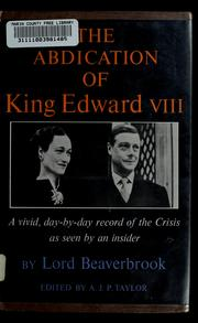 Cover of: The abdication of King Edward VIII